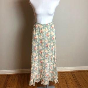 100% Silk Sundance Midi Slip Skirt w Flounce Hem